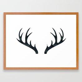Antlers Black and White Framed Art Print