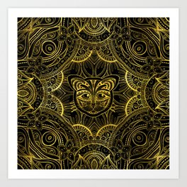 Gold Framed  Mandala Cat Art Print