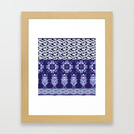 Striped Shibori Indigo Framed Art Print