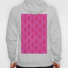 Mudcloth Dotty Diamonds in Neon Pink + Red Hoody