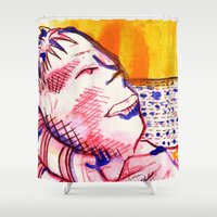 sam smith Shower Curtains featuring Reclining Sam by seb mcnulty