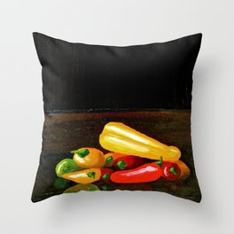 Peppers From a Friend, the painting Throw Pillow