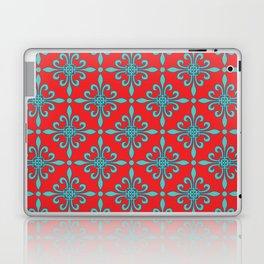 Fleur de Lis - Red & Turquoise Laptop & iPad Skin