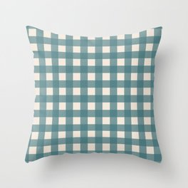 Buffalo Check Plaid in Teal and Cream Throw Pillow