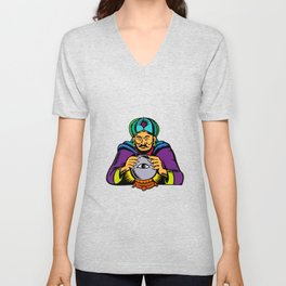 Fortune Teller With Crystal Ball Woodcut Unisex V-Neck
