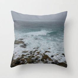 Unsettled Waters at Sennen Cove Throw Pillow