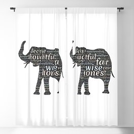 Elephant with words Blackout Curtain