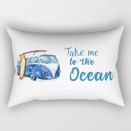 Take me to the Ocean // Summer quote with van and surfboard Rectangular Pillow