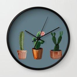 Three Cacti On Blue Background Wall Clock