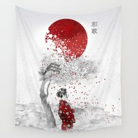 poem Wall Tapestries featuring Japanese Poem by Marine Loup