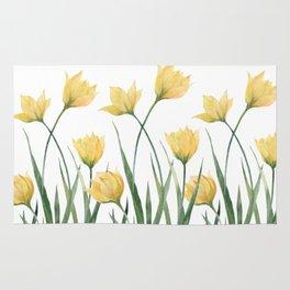 Yellow Woodland Tulips Rug