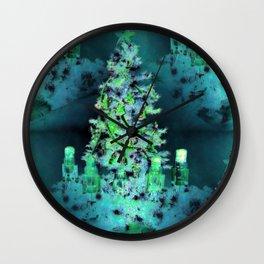 Blue/Green Yule Tree Wall Clock