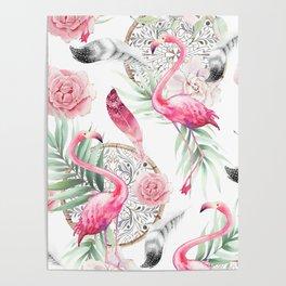 Flowered boho with flamingos Poster