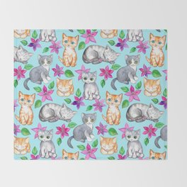Kittens and Clematis - blue Throw Blanket