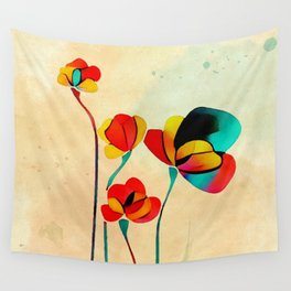 Exotic Watercolor Flower Wall Tapestry