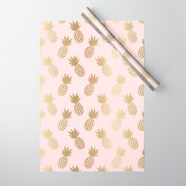 Pink & Gold Pineapples Pattern Wrapping Paper