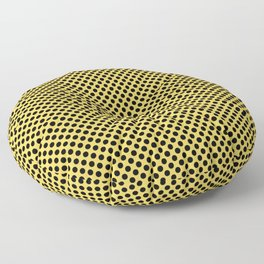 Primrose Yellow and Black Polka Dots Floor Pillow