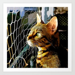 bengal cat yearns for freedom vector art Art Print