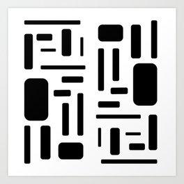Black and white geometric design Art Print
