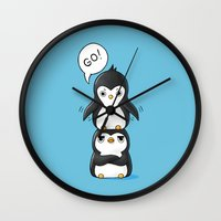penguins Wall Clocks featuring Penguins by Freeminds