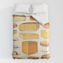 French Cheese Vintage Scientific Illustration Encyclopedia Labeled Diagrams Comforters