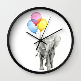 Baby Elephant with Balloons Nursery Animals Prints Whimsical Animal Wall Clock