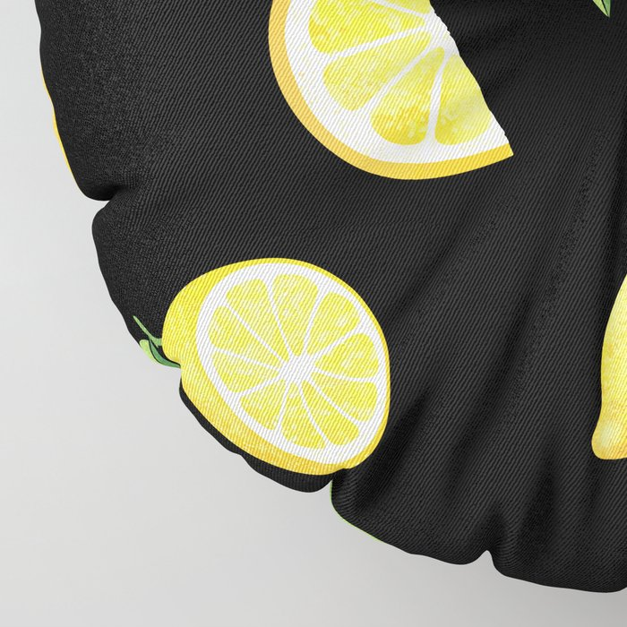 Lemons on Black Floor Pillow