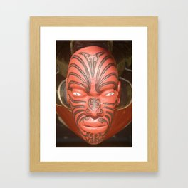 Maori face carving (New Zealand Collection) Framed Art Print