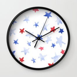 Red and Blue stars 4th of July watercolor design Wall Clock