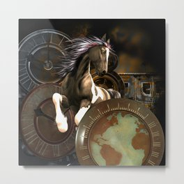 Steampunk, awesome horse Metal Print