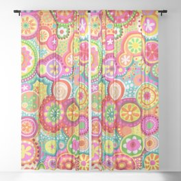 "Colorful Abstract Art by Thaneeya McArdle - ""Bubbles"" Sheer Curtain"