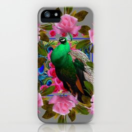 GREY COLOR PINK ROSES &  GREEN PEACOCK ART iPhone Case