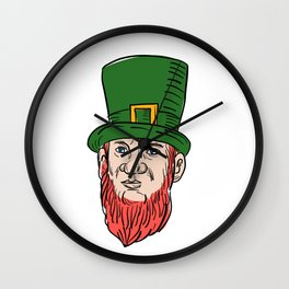 Irish Leprechaun Wearing Top Hat Drawing Wall Clock
