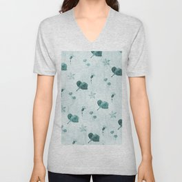 Turquoise flower pattern Unisex V-Neck