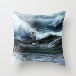 Lost at Sea, a Viking shipwreck in a storm Throw Pillow