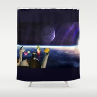 lama Shower Curtains featuring lama in space by myepicass