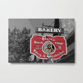 Danish Bakery and Coffeeshop Sign Selective Coloring Solvang CA Metal Print