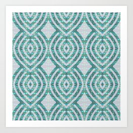 Mermaid Scales Contemporary Geometric Micro Pattern Art Print