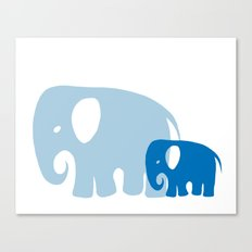 Mommy and child elephant Canvas Print