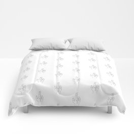 Fingers crossed. Minimal hand line drawing Comforters