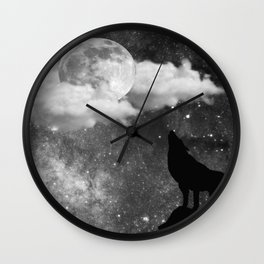 Dark Wolf Wall Clock