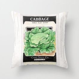 Cabbage Seed Packet Throw Pillow