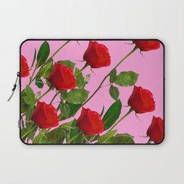 RED LONG STEMMED ROSES ON PINK Laptop Sleeve