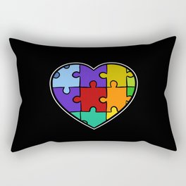 Autism Puzzle Heart Down Syndrome Trisomie 21 ADHD Rectangular Pillow