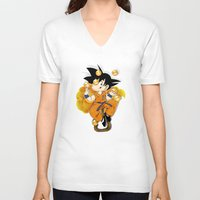 goku V-neck T-shirts featuring Goku by Ana del Valle Store