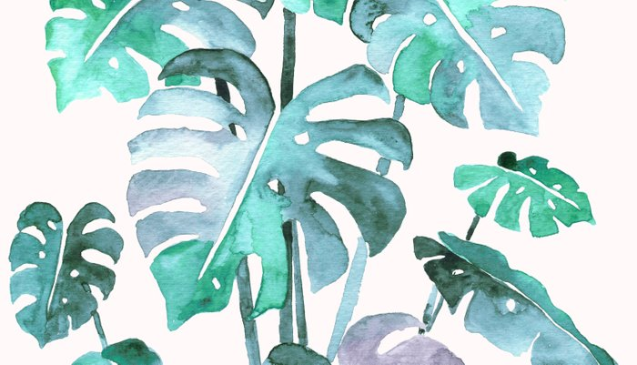 Delicate Monstera Blue And Green #society6 Pillow Sham