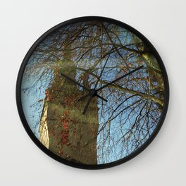 Old Tower And Leafless Branches Wall Clock