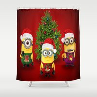 minions Shower Curtains featuring trending  , trending  games, trending  blanket, trending  duvet cover, trending  shower curtain by ira gora