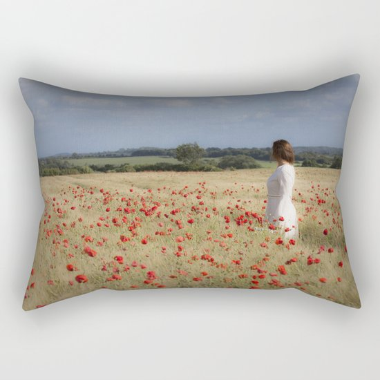 Waiting in the field Rectangular Pillow