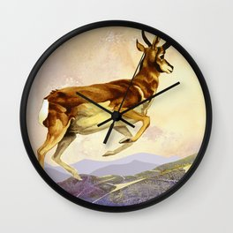 Pronghorn in the Morning Wall Clock